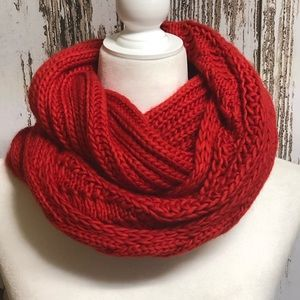 BP Red Chunky Knit Infinity Scarf NWOT